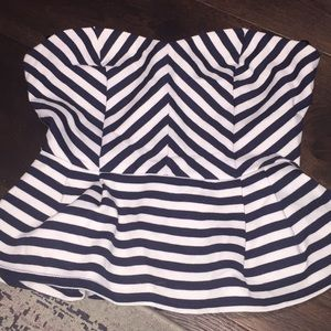 Forever 21 bustier striped peplum camisole top